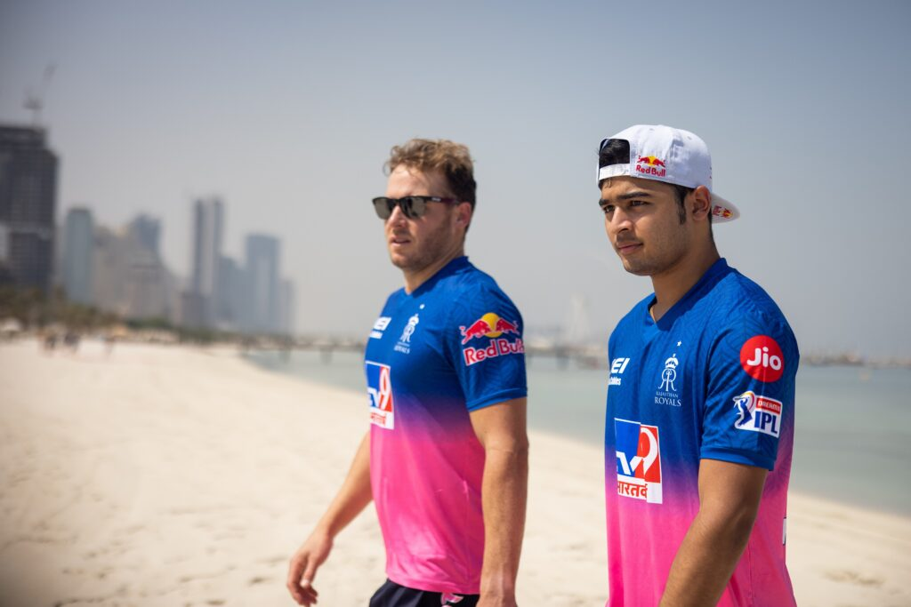 A SKYDIVING LEGEND UNVEILS FIRST LOOK OF NEW IPL 2020 JERSEY FOR RAJASTHAN ROYALS IN DUBAI